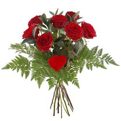 Bukiet 7 róż z sercem